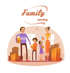 Family moving in cartoon vector