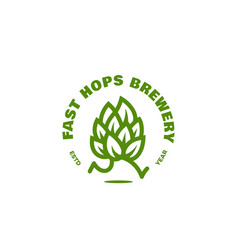 Fast hops brewery logo vector