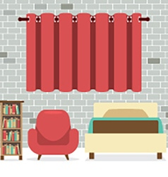 Flat Design Single Bed With Sofa And Bookcase vector image