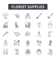 Florist supplies line icons signs set vector