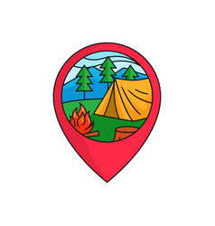 Forest camping map pin locator logo badge tent vector