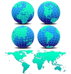 Four Global Worlds and World Map - SET TWO vector image