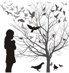 Girl and birds vector