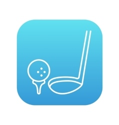 Golf ball and putter line icon vector image