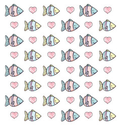 grated tropical fish animal and heart background vector image