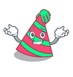 Grinning party hat character cartoon vector