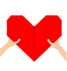 Hands arms holding red origami paper heart icon vector
