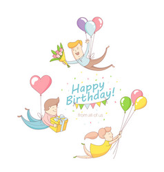Happy birthday party greeting card invitation vector