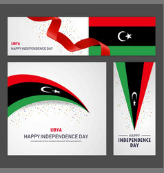 Happy libya independence day banner and vector
