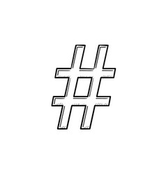 Hashtag hand drawn outline doodle icon vector