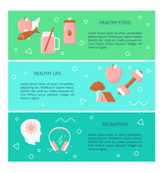 Healthy lifestyle concept flyers template in flat vector