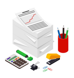 heap of documents accompanied by pen pencil and vector image
