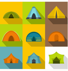 hiking tent icons set flat style vector image