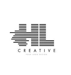 Hl h l zebra letter logo design with black and vector
