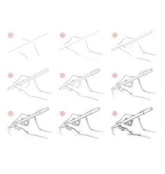 How to draw step-wise imaginary sketch a hand vector