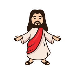 Jesus christ smiling with open arms vector