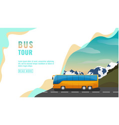landing page design banner with bus tour tourism vector image