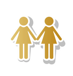 Lesbian family sign golden gradient icon vector