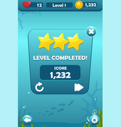 Level completed screen for underwater game concept vector