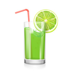 Lime juice in drinking glass citrus coctail vector
