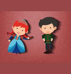 Little princess and guard cartoon character vector