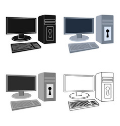 Locked computer icon in cartoon style isolated on vector
