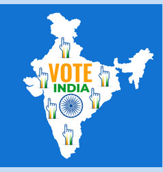 map of india with voting hand design vector image