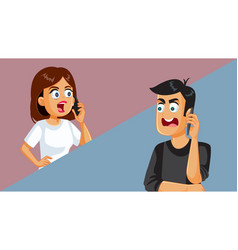 Married couple arguing on the phone vector