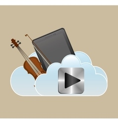 Mobile music classic smartphone cloud vector