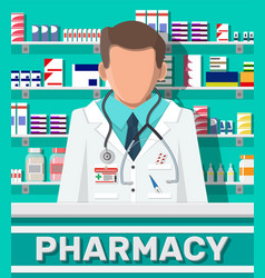 modern interior pharmacy and male pharmacist vector image