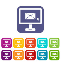 monitor with email sign icons set vector image