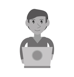 Monochromatic young man working laptop design vector