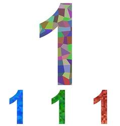Mosaic number design - number 1 vector