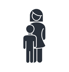 Mother and little son feelings family day icon in vector