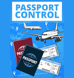 passport control airport service plane vector image