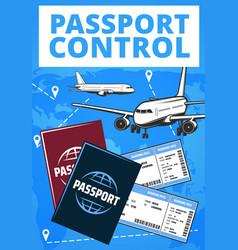 Passport control airport service plane vector