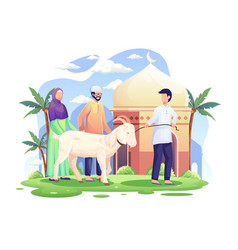 People bring a goat for qurban or sacrifice vector