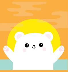 Polar white small little bear cub reaching vector