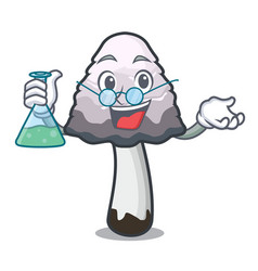 Professor shaggy mane mushroom character cartoon vector