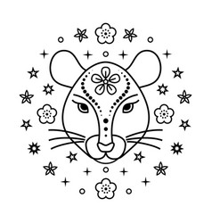 rat chinese horoscope sign vector image