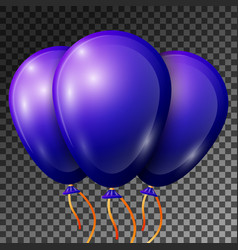 Realistic blue-purple balloons with ribbons vector