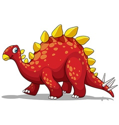 Red dinosaur with spikes tail vector image