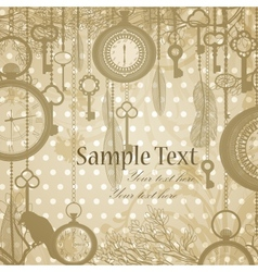 Retro grungy invitation card with antique clocks vector image