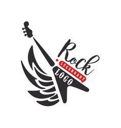 Rock logo black and red emblem for rock club or vector