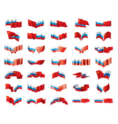 russia and china flags on vector image