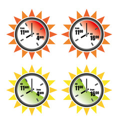 Safe and dangerous sun hours icon set vector
