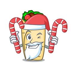 Santa with candy burrito mascot cartoon style vector