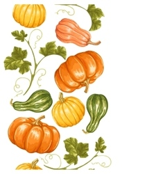 Seamless border with pumpkins decorative ornament vector