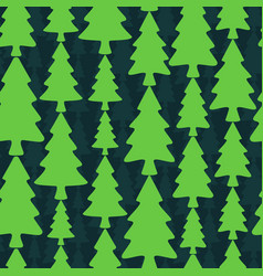 seamless pattern with fir trees on dark background vector image