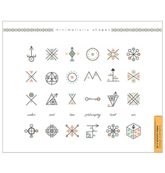 Set of minimal geometric monochrome shapes vector